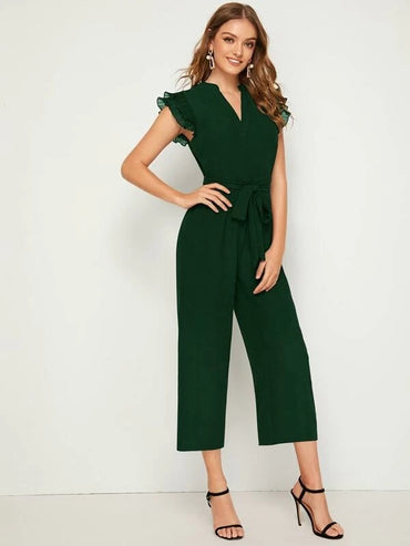 Layered Pleated Sleeve Belted Jumpsuit