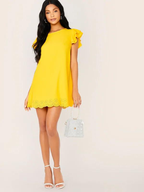 Layered Sleeve Scallop Hem Laser Cut Dress