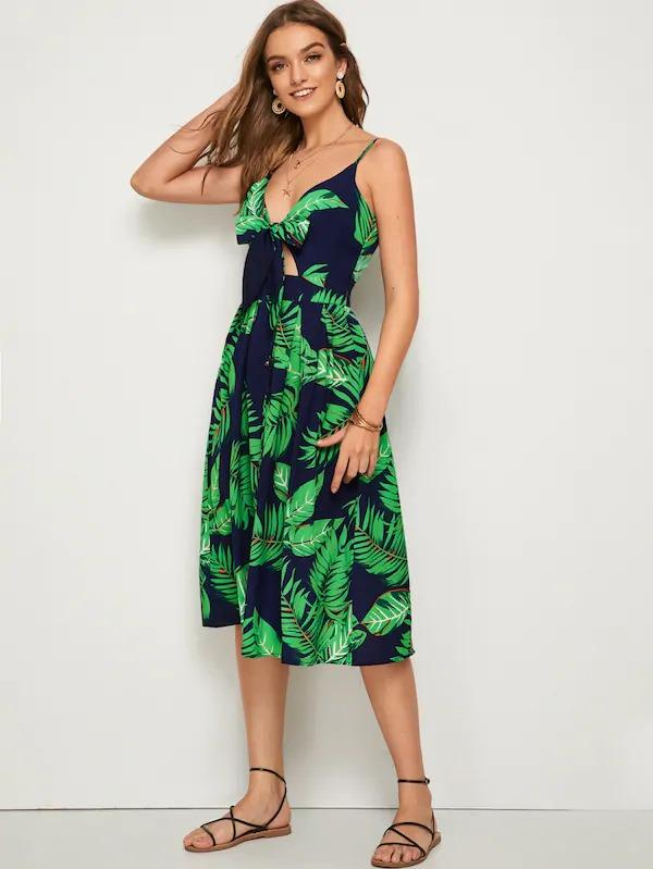 Leaf Print Button Tie Front Cami Dress