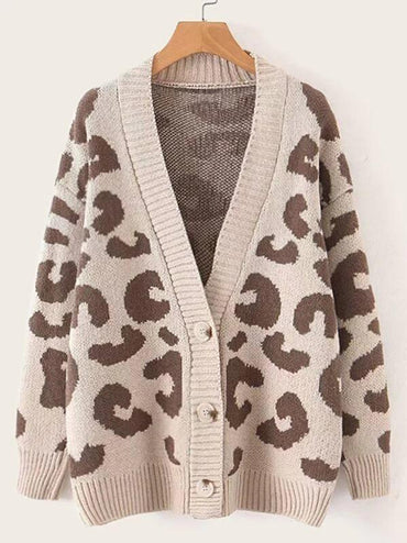 Leopard Print Button Front Cardigan