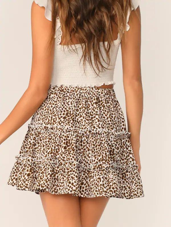 Leopard Print Layered Frill Trim Skater Skirt