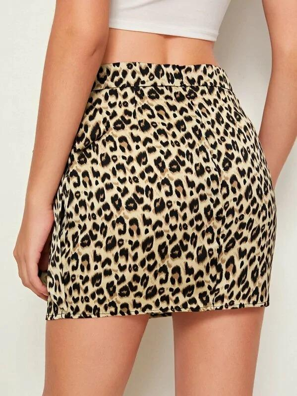 Leopard Print Tie Side Wrap Satin Skirt