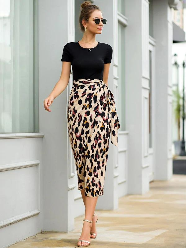 Leopard Print Tie Side Wrap Skirt