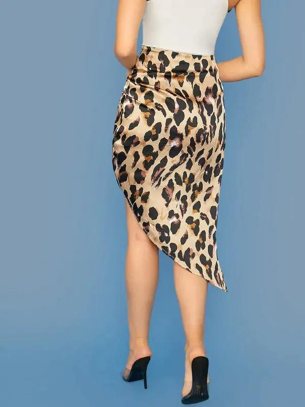 Leopard Print Twist Satin Asymmetrical Skirts