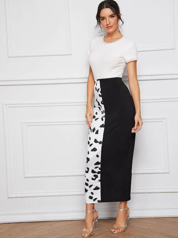 Leopard Print Two Tone Split Hem Pencil Skirt