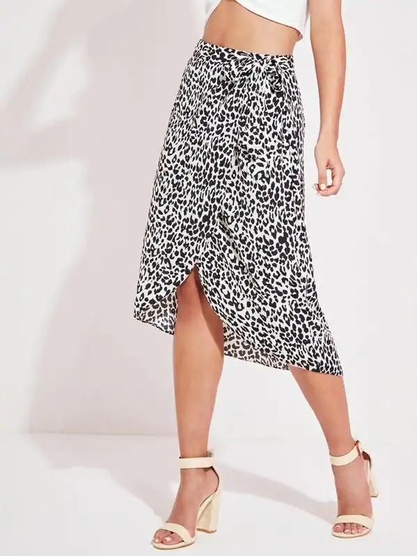 Leopard Print Wrap Knotted Skirt