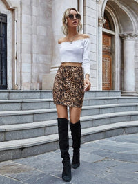 Women Leopard Print Mini Straight Skirt