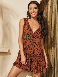 Women Leopard Print Ruffle Hem Smock Dress