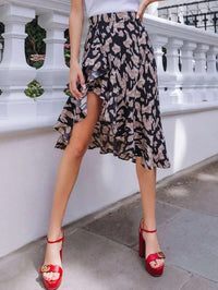 Women Leopard Print Ruffle Trim Asymmetrical Skirt