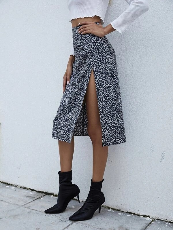 Women Leopard Print Split Thigh Skirt