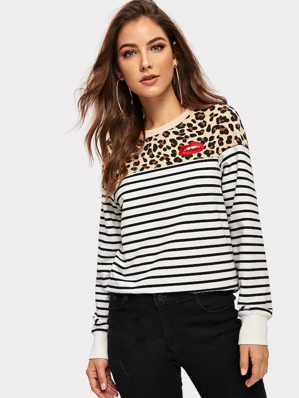 Leopard And Striped Pullover