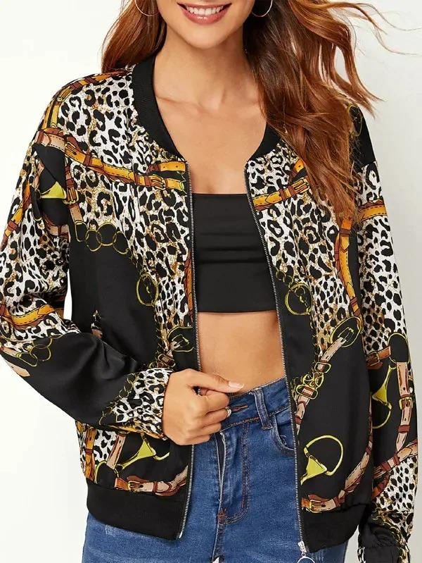 Leopard Chain Print Bomber Jacket