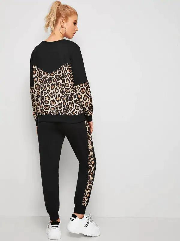 Leopard Contrast Long Sleeve Sweatshirt & Pants Set