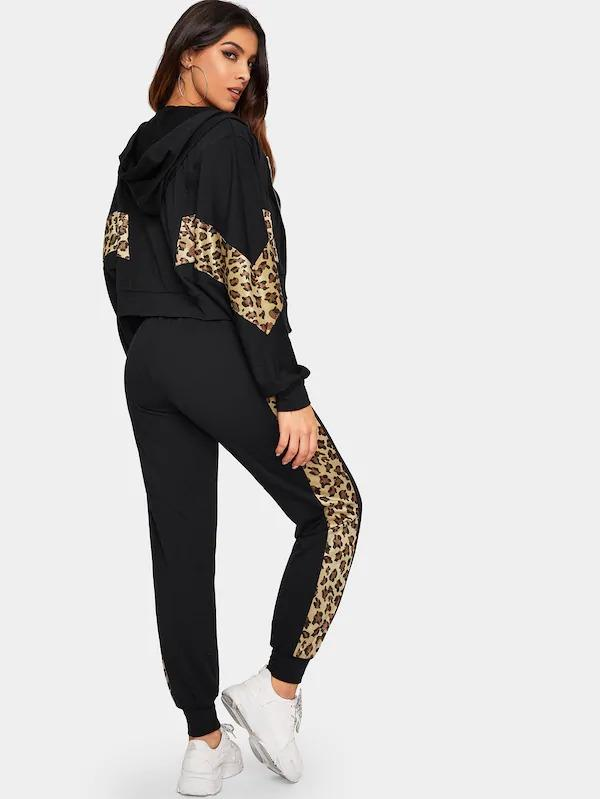 Leopard Panel Zip Up Hooded Sweatshirt And Sweatpants Set