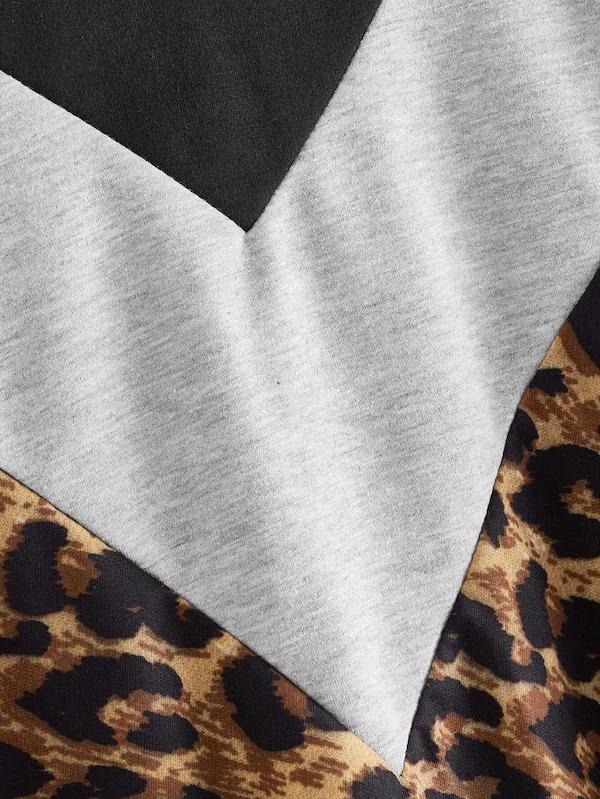 Leopard Print Colorblock Hooded Sweatshirt
