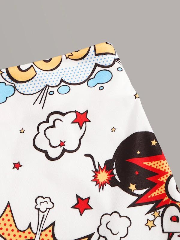 Letter & Cartoon Print Pencil Skirt