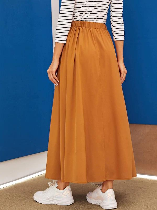 Letter Print Push Buckle Belted Wrap Skirt