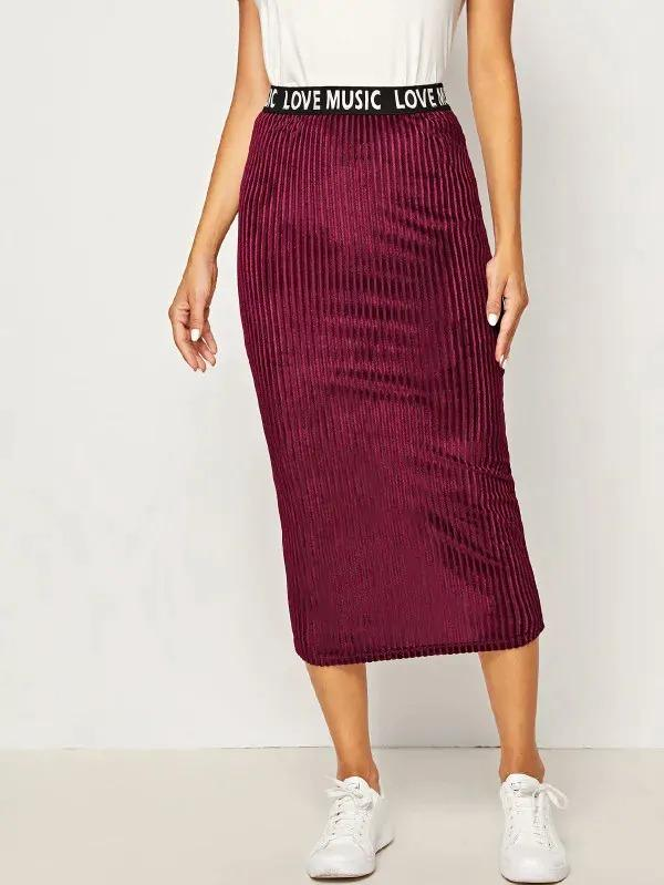 Letter Tape Waist Split Back Rib-Knit Velvet Skirt