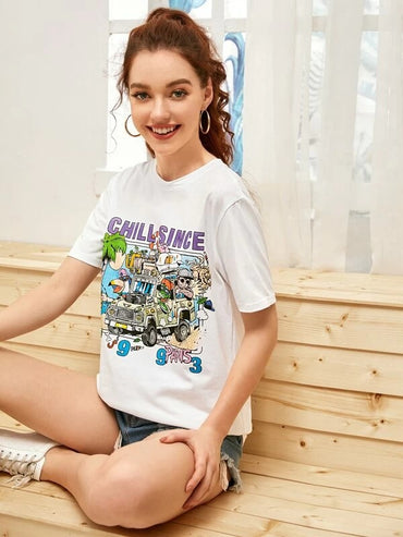 Women Letter And Cartoon Graphic Tee