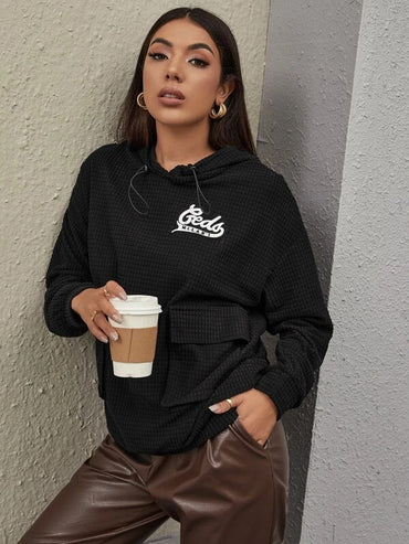 Women Letter Embroidery Flap Pocket Waffle Knit Hoodie
