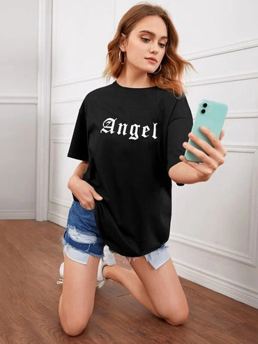Women Letter Graphic Drop Shoulder Oversized Tee