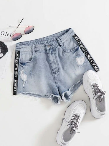 Women Letter Tape Side Ripped Denim Shorts