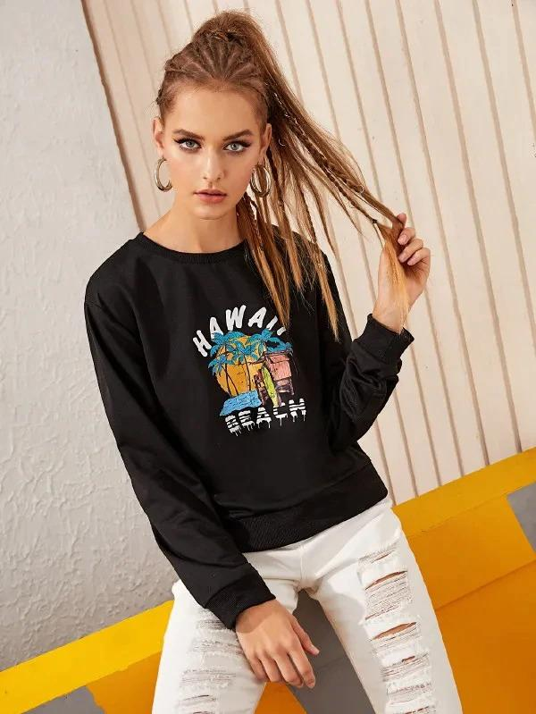 Letter And Beach Scenery Print Sweatshirt