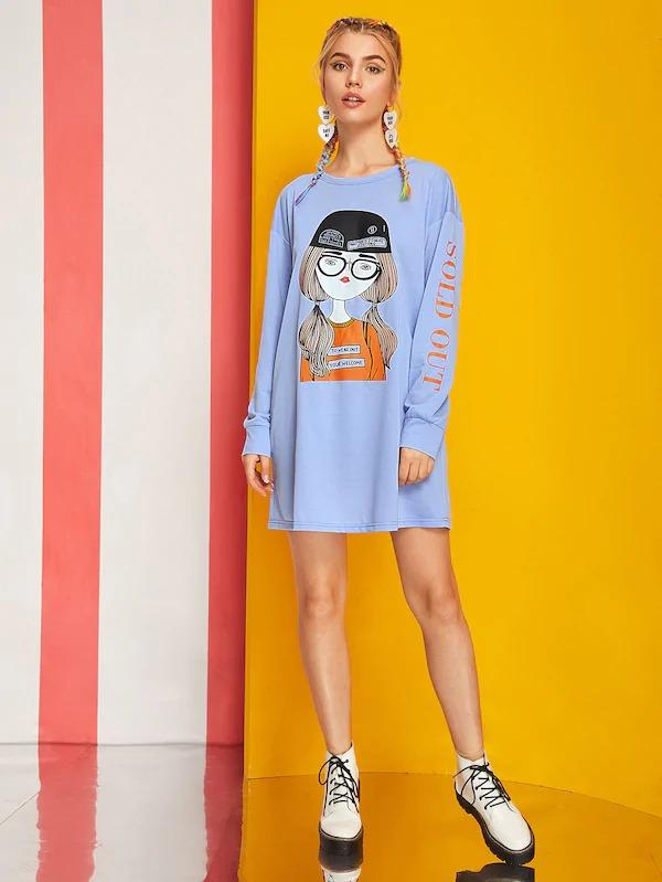 Letter And Figure Print Sweatshirt Dress