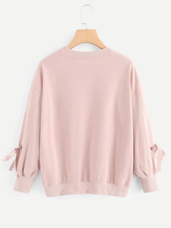 Letter Embroidered Knot Sleeve Sweatshirt