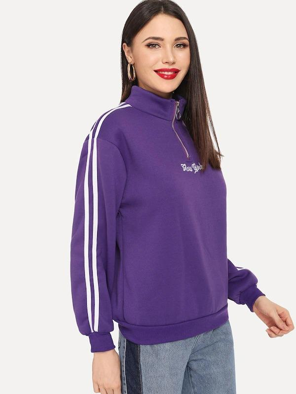 Letter Embroidered Striped Side Sweatshirt