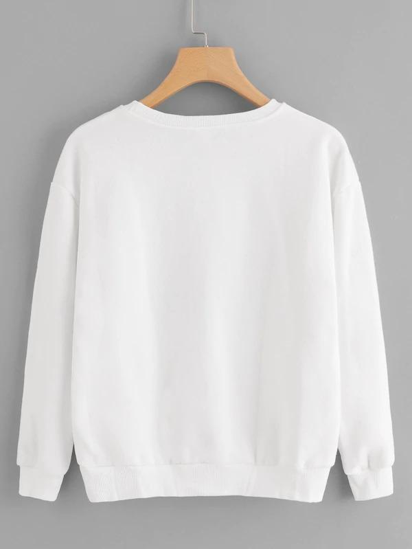 Letter Embroidered Sweatshirt