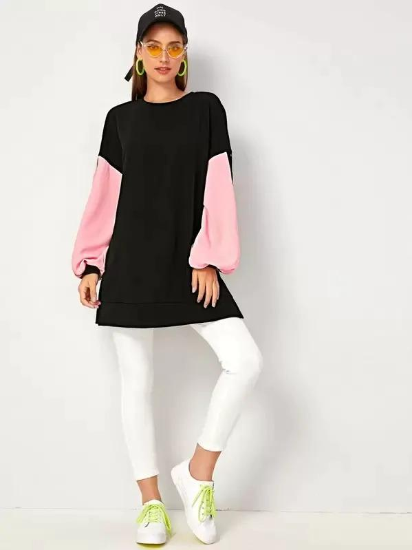 Letter Graphic Lantern Sleeve Colorblock Pullover