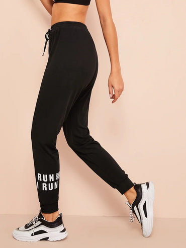Letter Pattern Drawstring Pants
