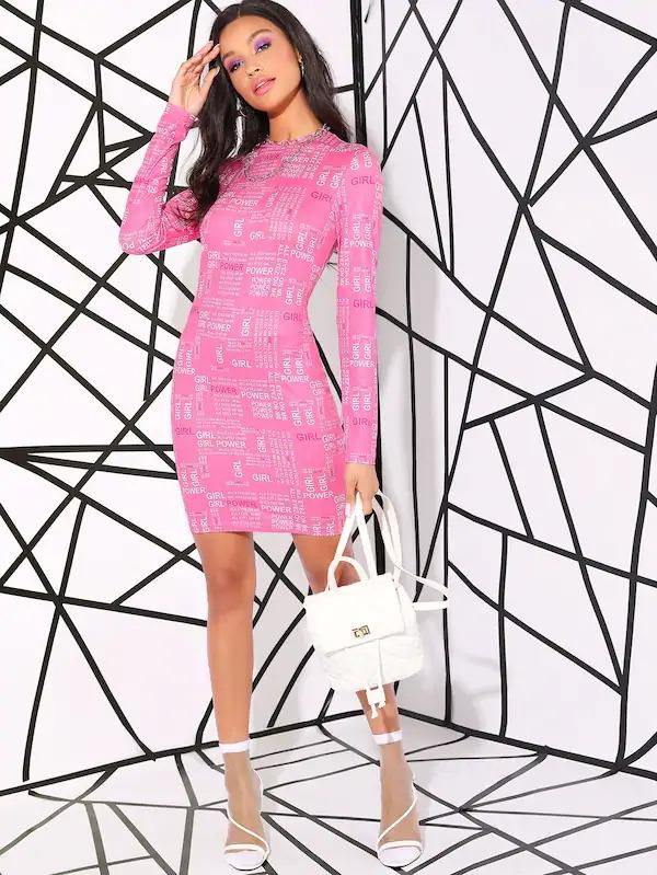 Letter Print Bodycon Dress Without Chain