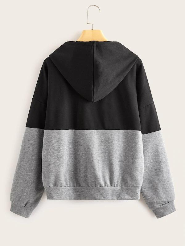 Letter Print Colorblock Pocket Patched Hoodie