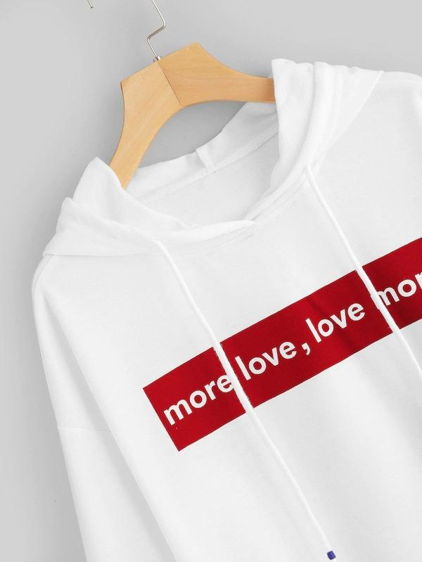 Letter Print Drawstring Detail Hooded Sweatshirt