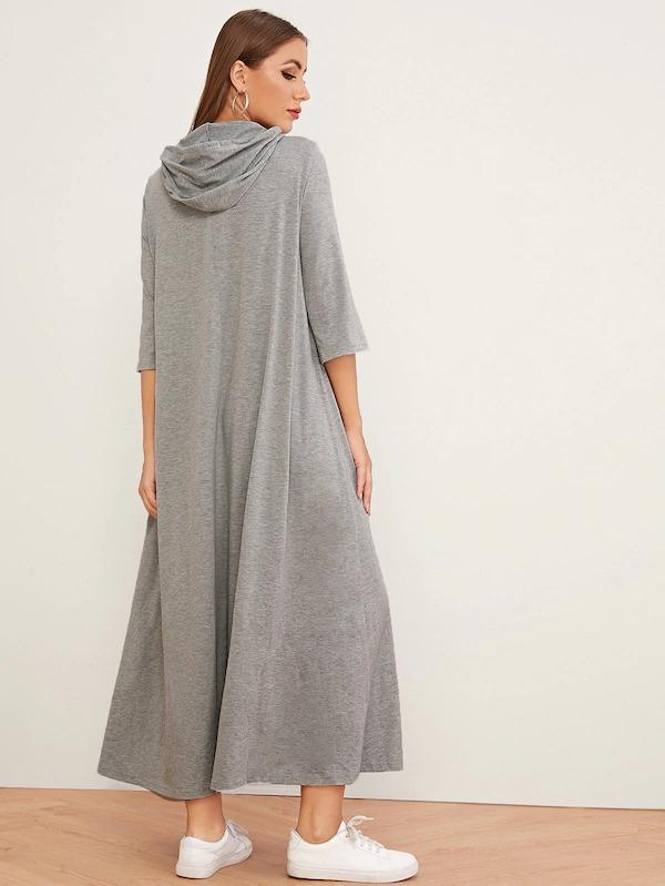 Letter Print Drawstring Hooded Maxi Dress