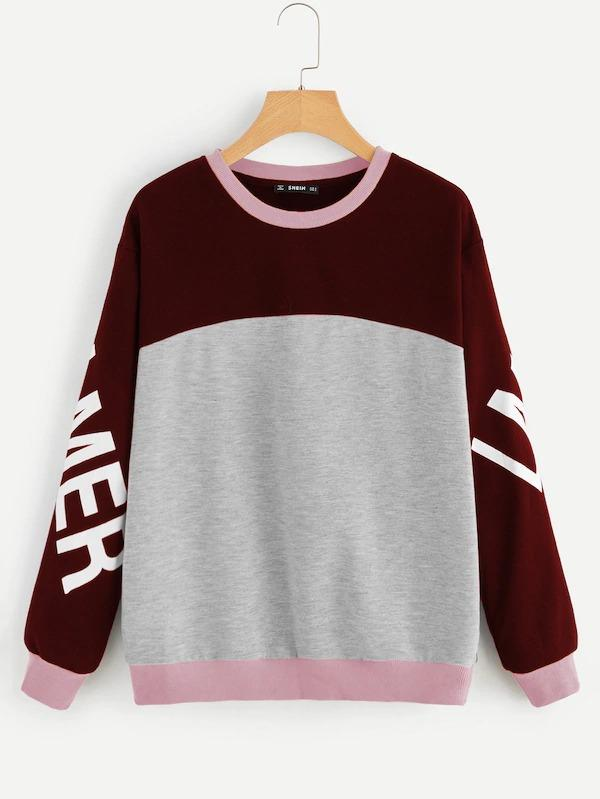 Letter Print Heather Grey Panel Colorblock Sweatshirt