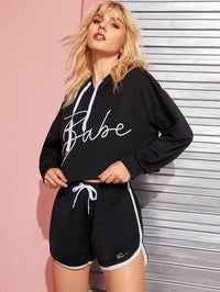 Letter Print Hoodie With Contrast Binding Track Shorts