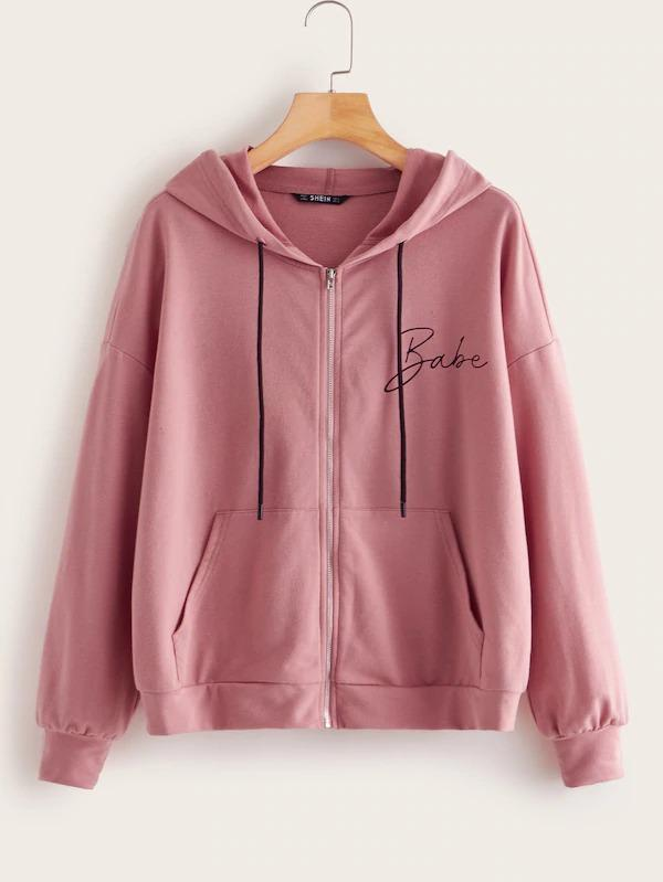 Letter Print Pocket Front Zip Up Hoodie