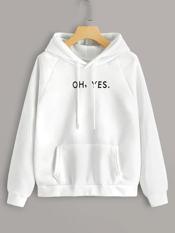 Letter Print Raglan Sleeve Hooded Sweatshirt
