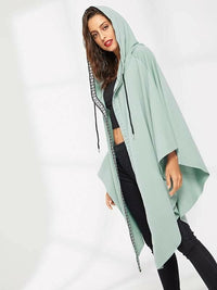 Women Letter Tape Asymmetrical Hem Coat