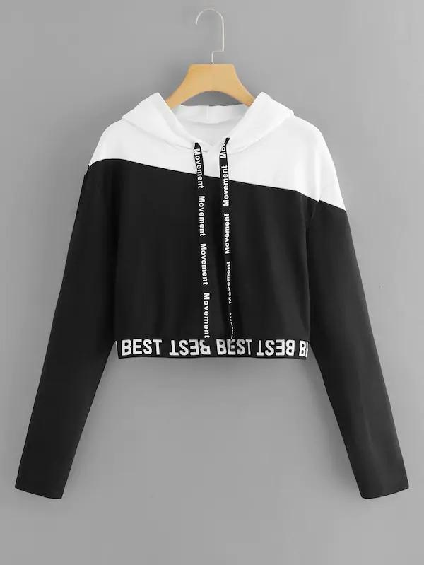 Letter Tape Color Block Hooded Sweatshirt