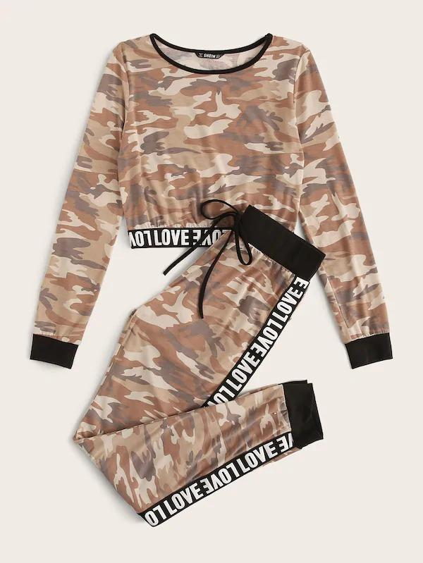 Letter Tape Detail Camo Print Crop Top & Pants Set