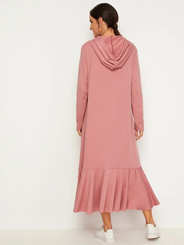 Letter Tape Drawstring Flounce Hem Hoodie Dress