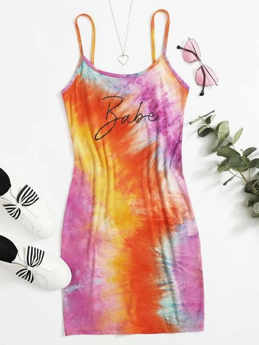Women Letter and Tie Dye Bodycon Dress