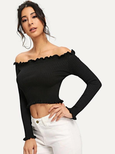 Lettuce Trim Off The Shoulder Jumper
