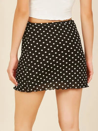 Women Lettuce Ruffle Hem Polka Dot Mini Skirt
