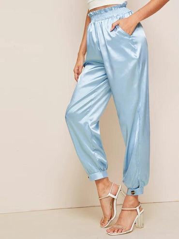 Lettuce Frill Pocket Button Hem Pants