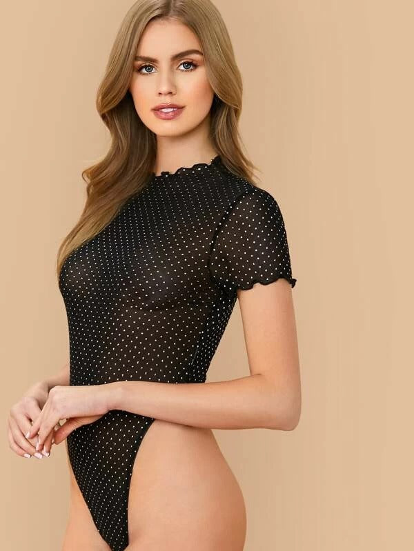 Lettuce Trim Dot Sheer Mesh Bodysuit